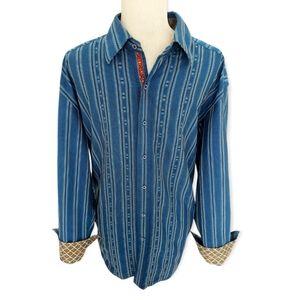 Robert Graham XL Blue Striped Button Down Shirt Flip Cuff Paisley Plaquette